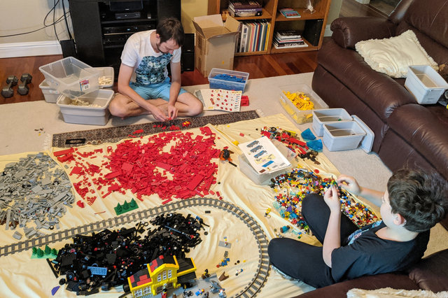 Uncle Willy and Calvin build Lego