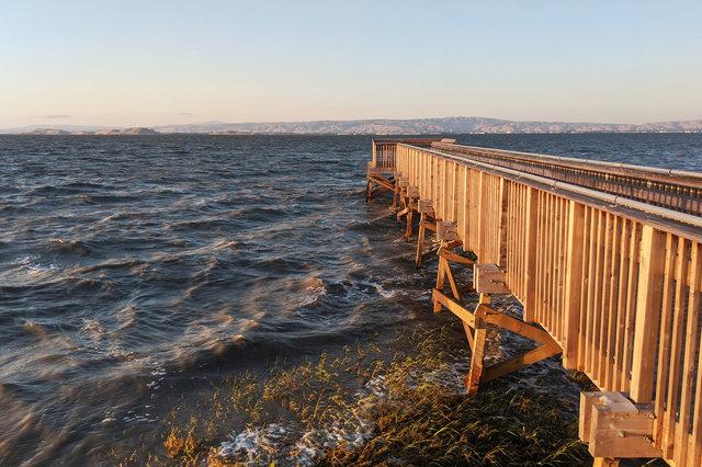 Boardwalk stretching into San Francisco Bay