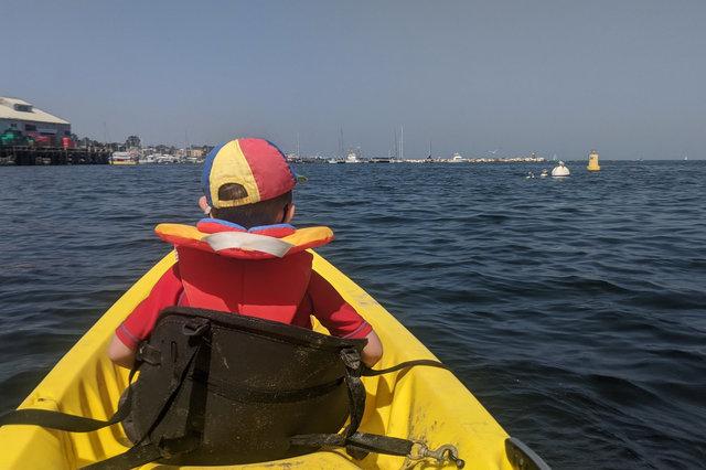 Julian on a kayak in Monterey Bay