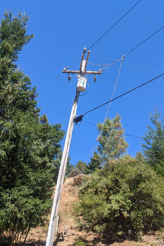 Power lines grounded for tree trimming