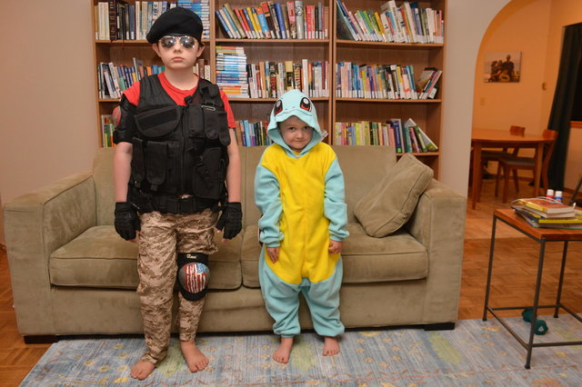 Calvin and Julian in their Halloween costumes