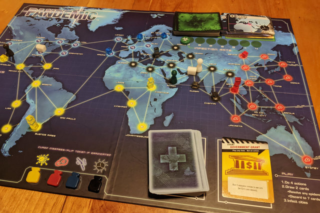 Pandemic game board with zombies
