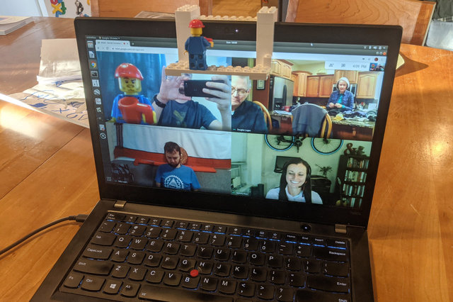 Lego minifig in a video conference