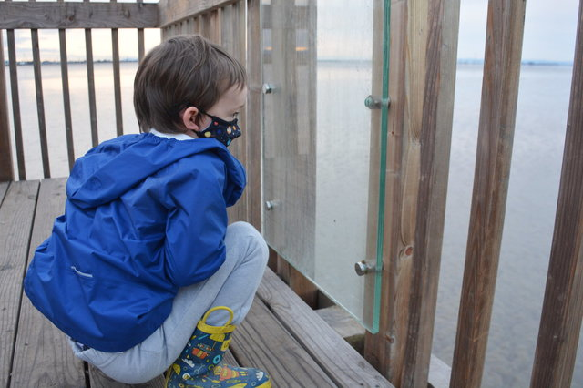 Julian looks at the mud flats in San Francisco Bay
