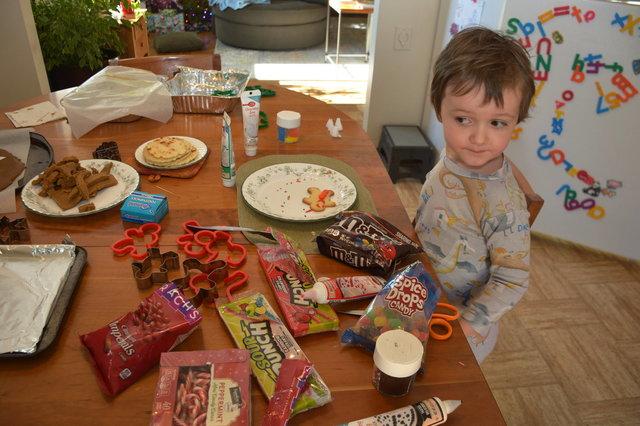 Julian prepares to decorate Christmas cookies