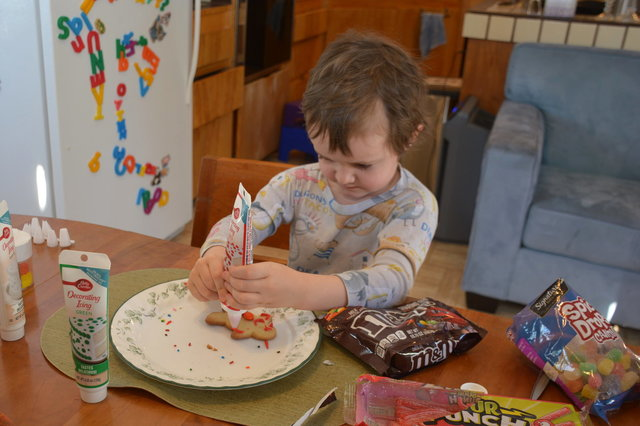 Julian decorates Christmas cookies