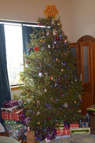 Christmas tree on Christmas morning