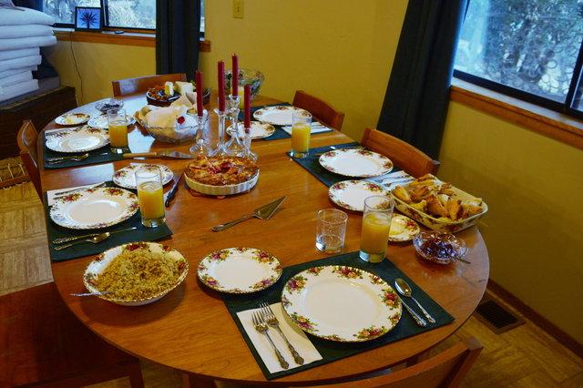 Christmas table set for dinner