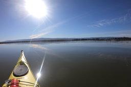 Kayak opposite the Palo Alto Baylands dock