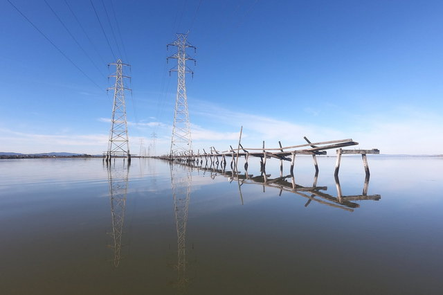 High-tension power lines in San Francisco Bay