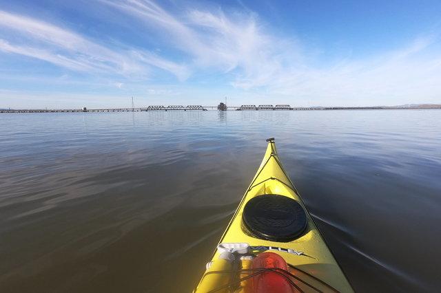 Kayaking towards the Dumbarton Rail Bridge