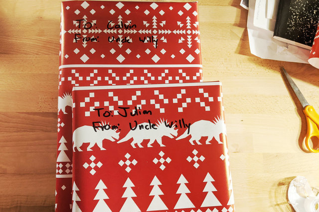 Presents wrapped for Calvin and Julian from Uncle Willy