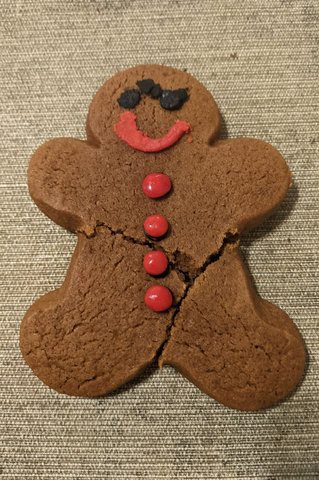 Gingerbread person with a unibrow