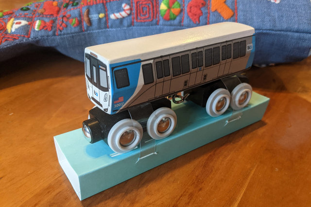 Wooden scale model of BART D stock