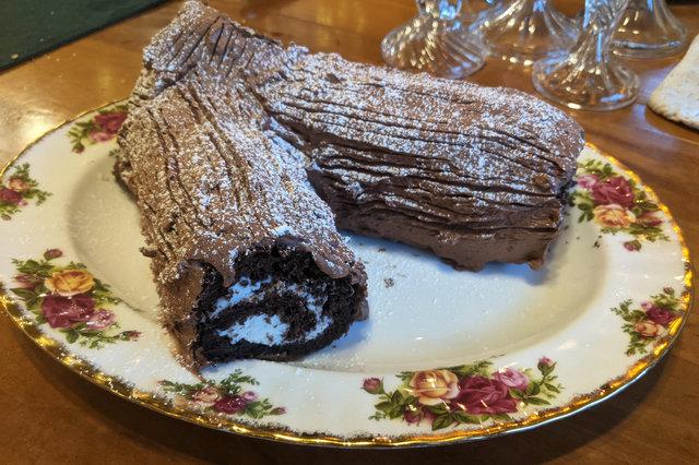 Yule log for Christmas dessert