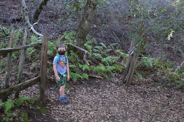 Julian in the gap between the earthquake fence