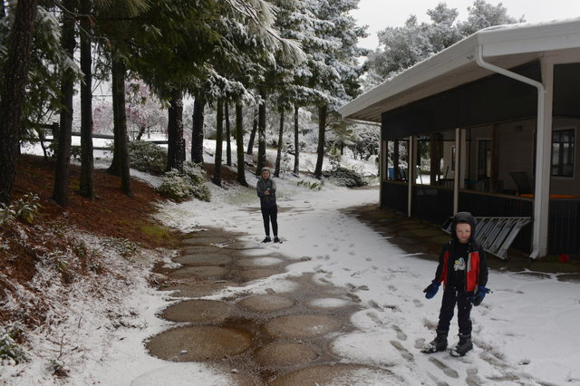 Calvin and Julian in the snow