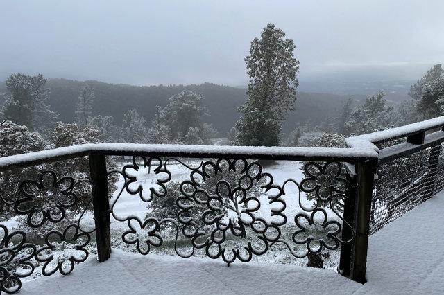 Snow on the ground in the Santa Cruz Mountains
