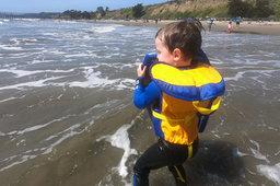 Julian prepares to catch a wave