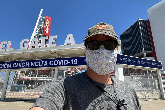 Jaeger post-vaccine selfie at Levi's Stadium