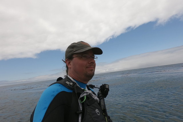 Jaeger on a kayak in the Pacific Ocean