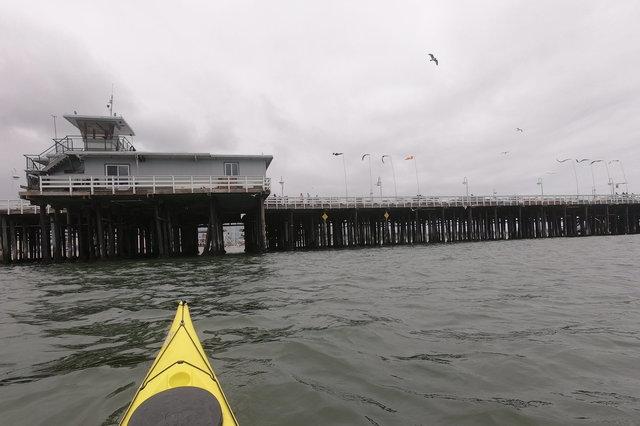 Kayak approaches Santa Cruz Pier
