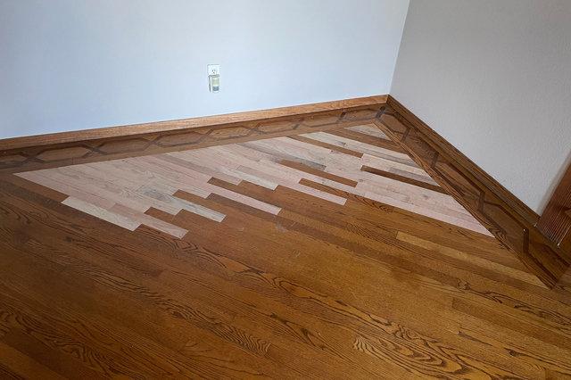 Repaired wood floorboards