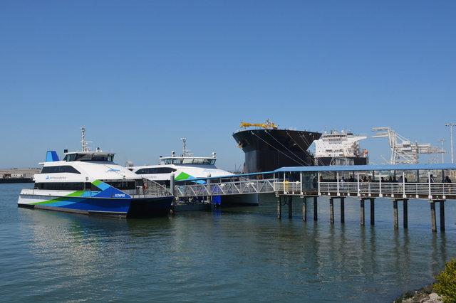 SF Bay Ferries docked in Oakland