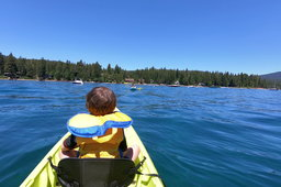 Julian in a kayak on Lake Tahoe