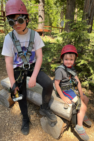 Calvin and Julian suited up for the aerial park