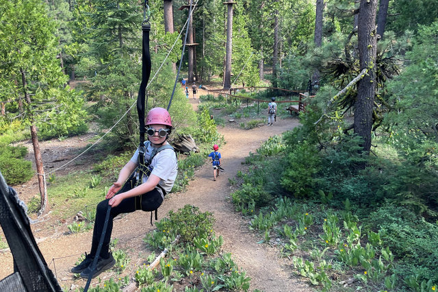Calvin at the end of the zipline