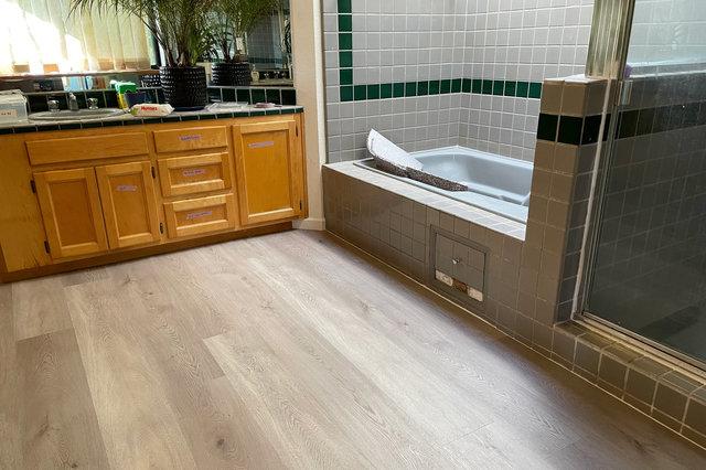 New vinyl plank floor in bathroom