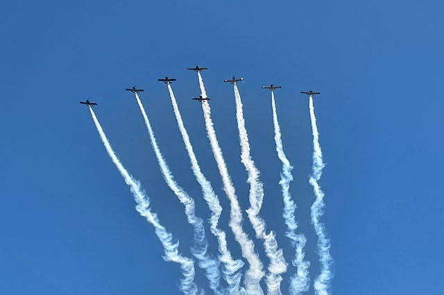 Stunt planes fly over Scotts Valley