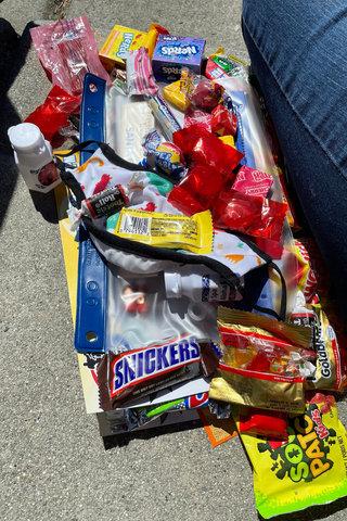Candy haul in progress