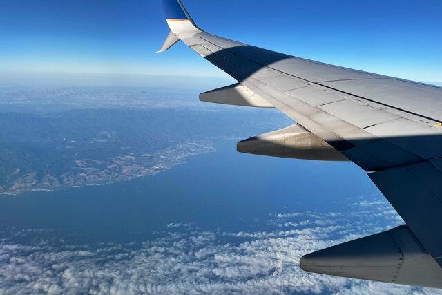 737 wing flying over Santa Cruz