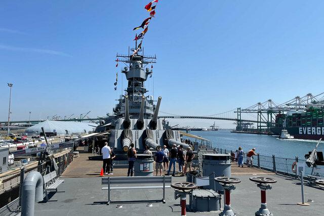 USS Iowa main deck and forward turrets
