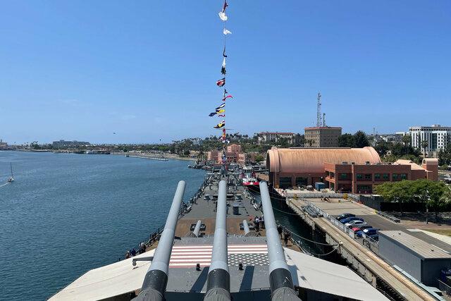 Looking forward over USS Iowa