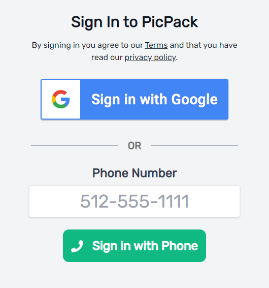 example sign in page