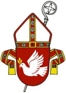 Tampereen hiippakunnan piispan vaakuna, joka on muodostettu lisäämällä hiippakunnan vaakunakilven yhteyteenpiispanhiippa,stolaja piispansauva.
