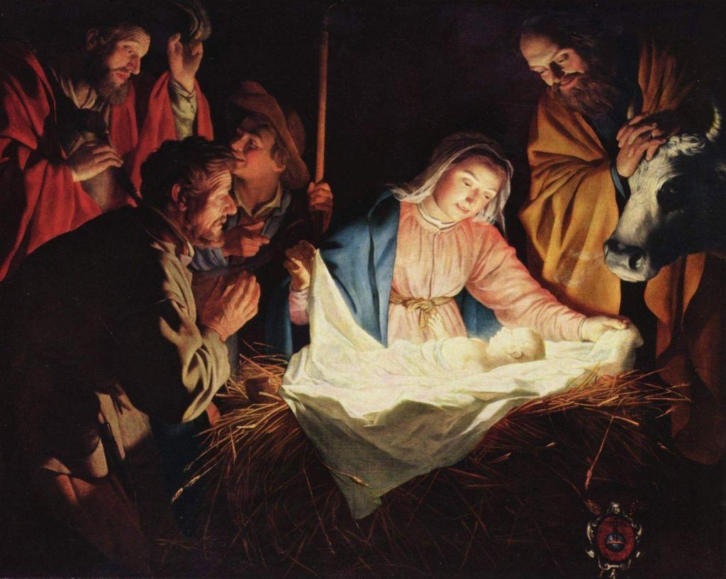 Maalaus Jeesus-lapsesta seimessä, ympärillä Maria, Joosef ja paimenia.