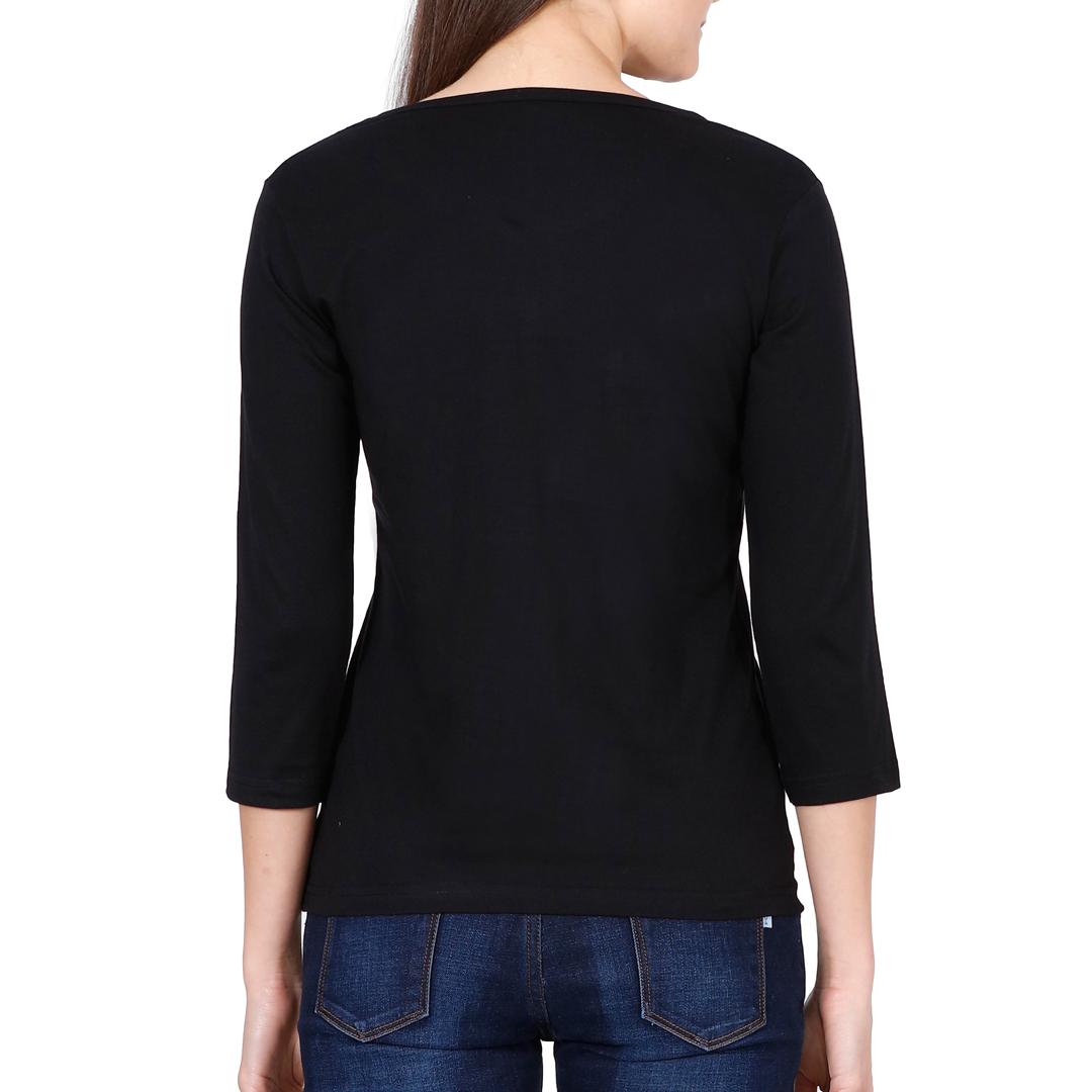 Elbow Sleeve Women T Shirt Black Back