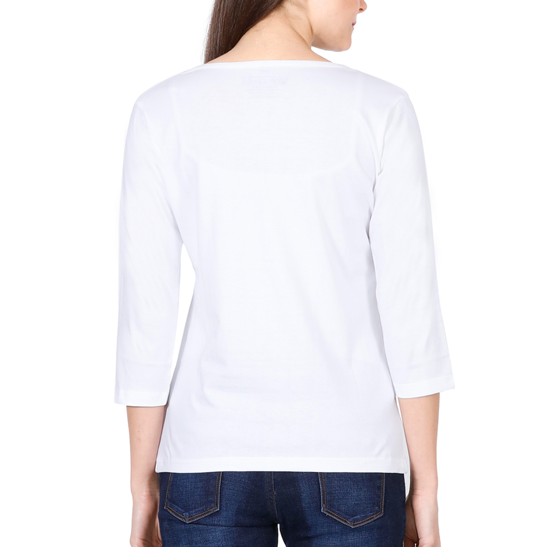 Elbow Sleeve Women T Shirt White Back