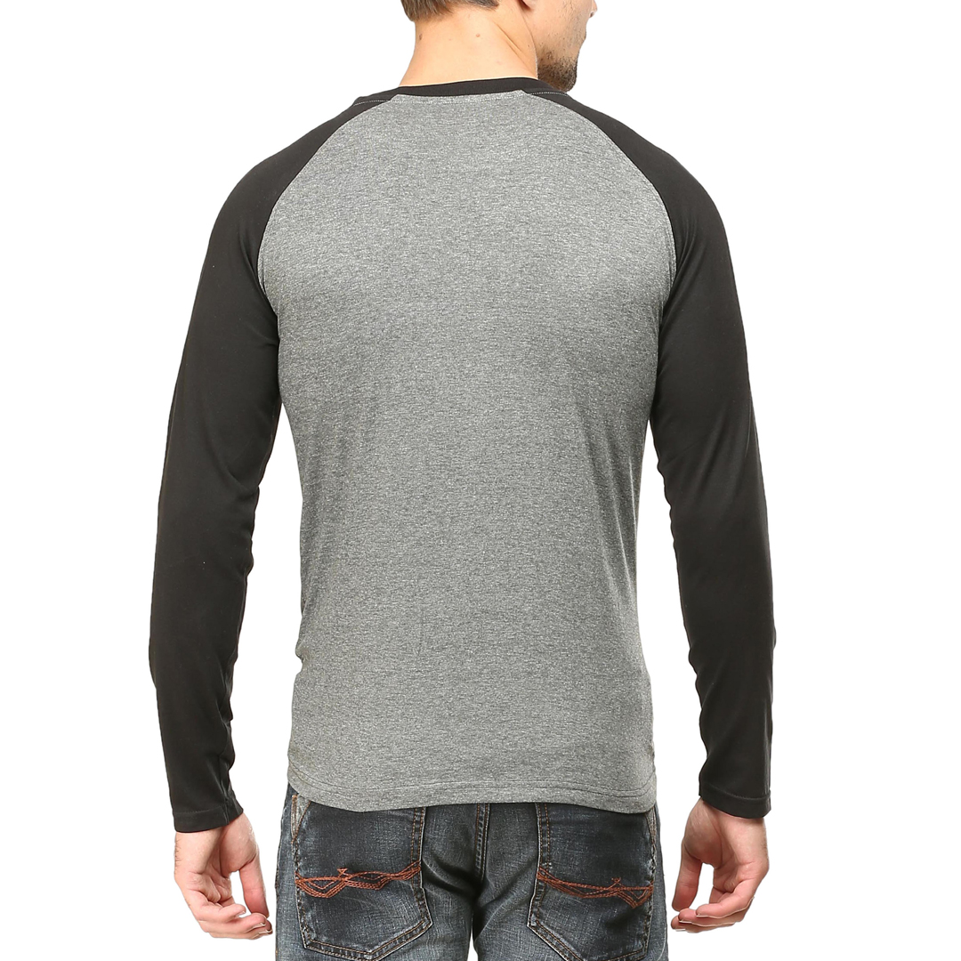 Men Raglan Full Sleeve T Shirt Black Charcoal Back