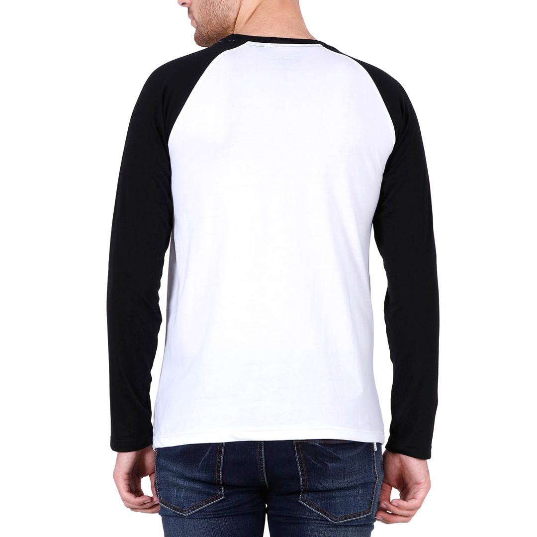 Men Raglan Full Sleeve T Shirt Black White Back