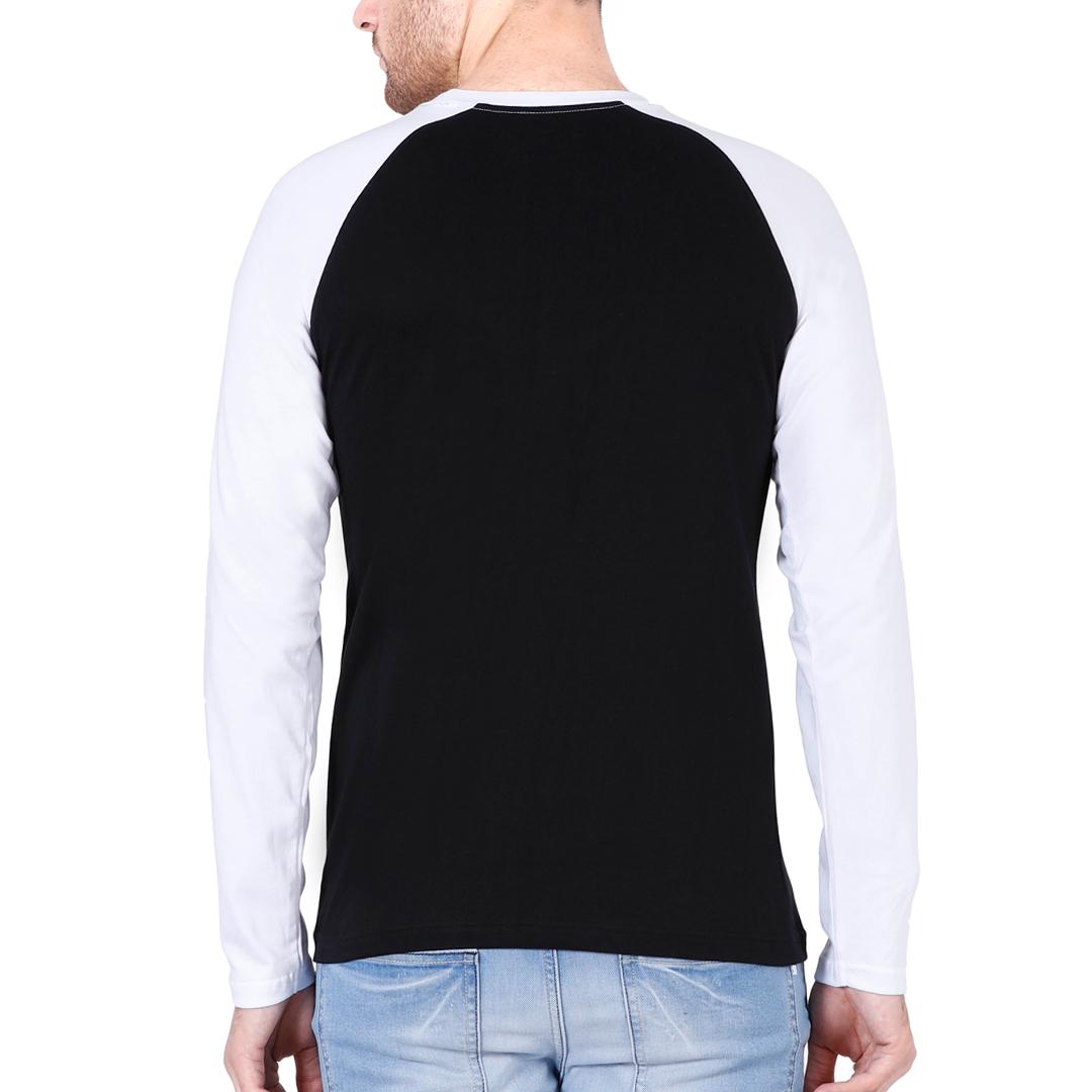 Men Raglan Full Sleeve T Shirt White Black Back