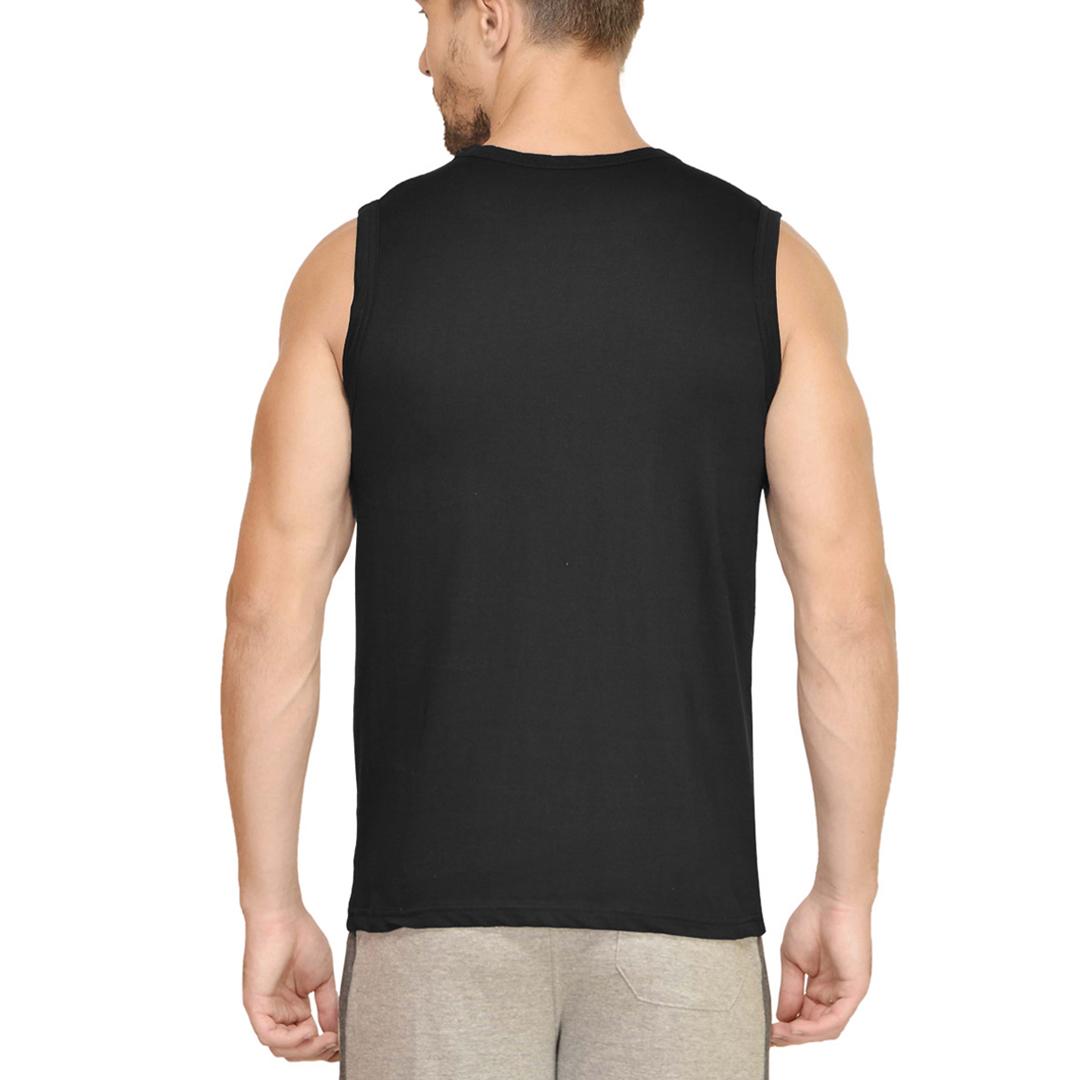 Men Sleeveless T Shirt Vest Black Back