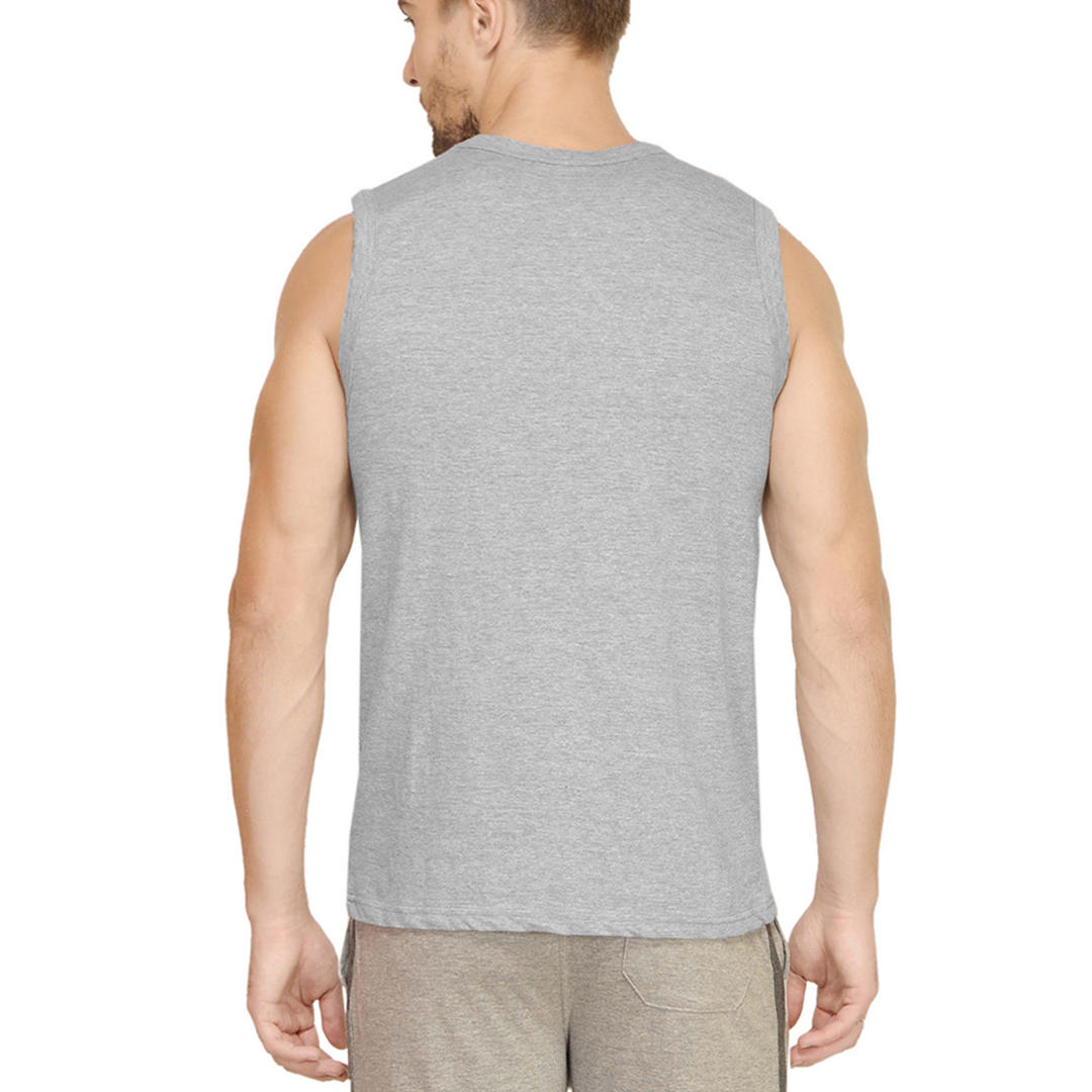 Men Sleeveless T Shirt Vest Grey Back