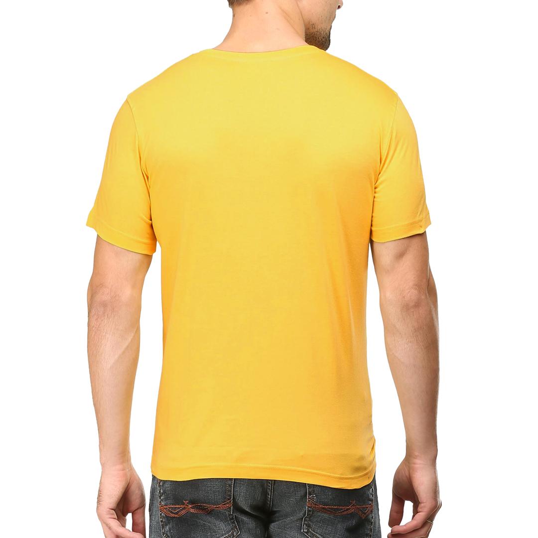 Men T Shirt Yellow Back