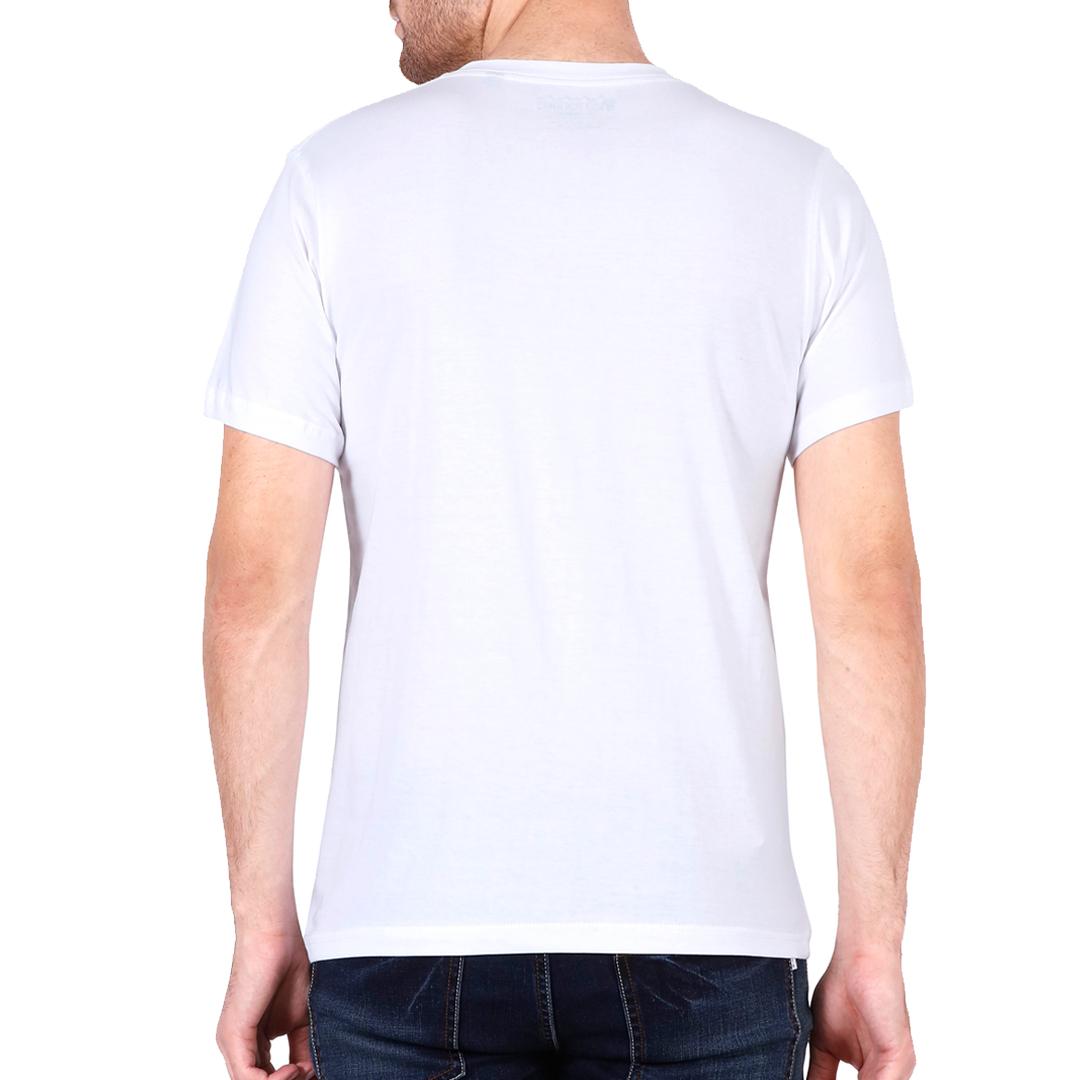 Men V Neck T Shirt White Back