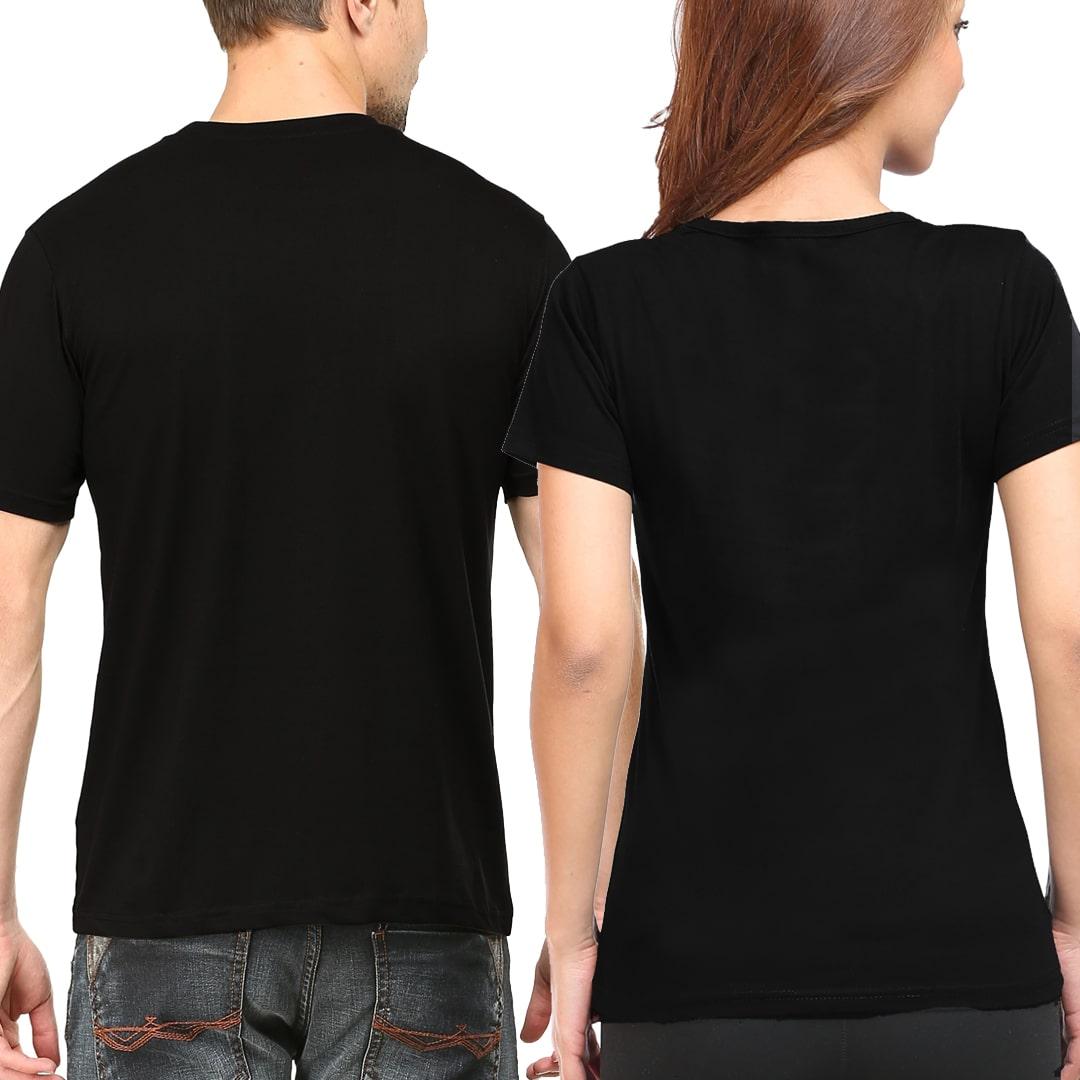 Plain Couple T Shirts Model Mockup Black Back Min